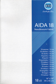 BORDUURSTOF AIDA 18 COUNT - WHITE - RTO