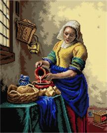 Voorbedrukt stramien after Johan Vermeer - HET MELKMEISJE - ORCHIDEA 40 x 50