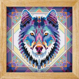 Diamond painting MANDALA Dieren WOLF (blauw)
