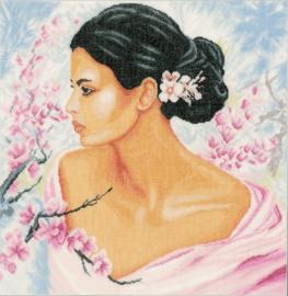 Romance - Dame met Bloesems (linnen)