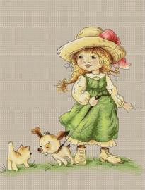 GIRL WITH DOG ON A LEASH (aida)