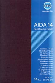 BORDUURSTOF AIDA 14 COUNT - BLACK - RTO