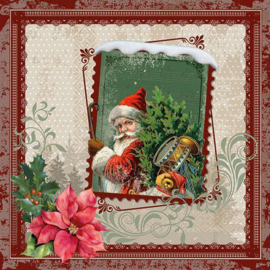 Ambiënte servetten 5st -  Kerstman op postzegel 33x33cm