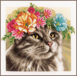 Animals - Maine Coon met bloemenkrans - (AIDA) Lanarte