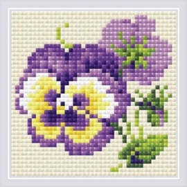 DIAMOND MOSAIC PAIR OF PANSIES - RIOLIS