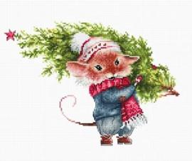 CHRISTMAS MOUSE WITH FIR TREE (aida)