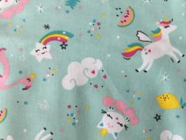 Fat quarter Rainbow Unicorn 50 x 55 cm 100% katoen