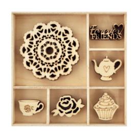 Houten ornamenten -TEA PARTY - 30 stuks
