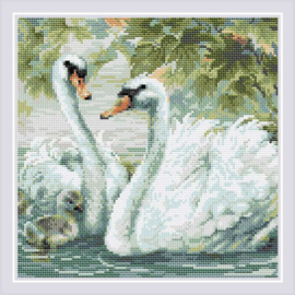DIAMOND MOSAIC WHITE SWANS - RIOLIS