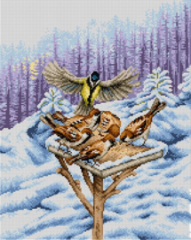 Voorbedrukt stramien Winter Feeder - ORCHIDEA 40 x 50