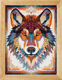 Diamond painting MANDALA Dieren WOLF (BRUIN)