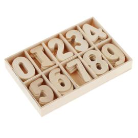 Houten bakje met  cijfers 3 cm (60 stuks)