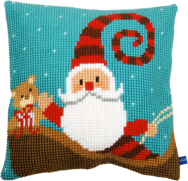 Kruissteek kussen Happy Santa 40 x 40 cm (voorbedrukt)