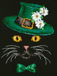 CAT: BLACK CAT - GREEN HAT