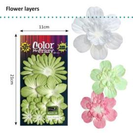 Petaloo • Flower layers mantis green - Papieren bloemblaadjes  (12 stuks)