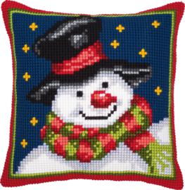 Kruissteek kussen Snowman 40 x 40 cm (voorbedrukt)