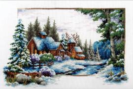 VOORBEDRUKT BORDUURPAKKET WINTER SNOW - NEEDLEART WORLD