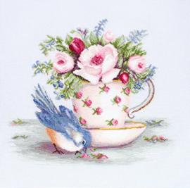 BORDUURPAKKET BIRD IN TEA CUP - LUCA-S 35 x 30 cm