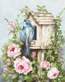 BIRD HOUSE & ROSES (aida)