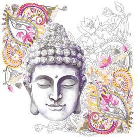 Ambiënte servetten 5st - Buddha hoofd 33x33cm