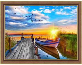 Zonsondergang bij het water (40 x 30 cm)