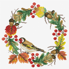 VOORBEDRUKT BORDUURPAKKET AUTUMN WREATH - LADYBIRD