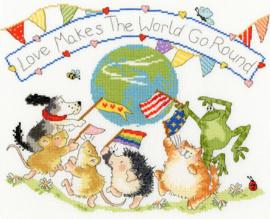 BORDUURPAKKET MARGARET SHERRY - LOVE MAKES THE WORLD GO ROUND - BOTHY THREADS