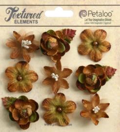 Petaloo • Mixed textured mini blossoms mocha - Papieren bloemen  (9 stuks)