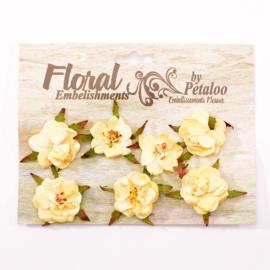 Petaloo • Rose blossoms cream - Papieren bloemen  (7 stuks)