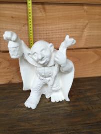 Keramiek beeld trol met lamp 24 cm hoog
