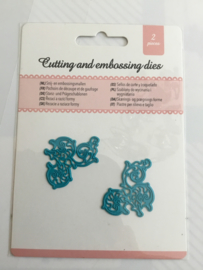 Cutting and embossing dies blauw