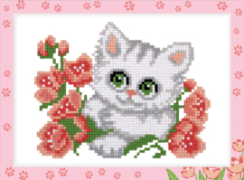 DIAMOND PAINTING KITTEN WITH FLOWERS - FREYJA CRYSTAL