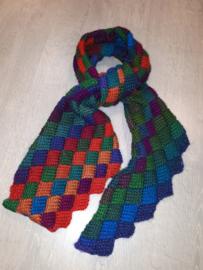 entrelac sjaal, gehaakt