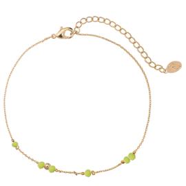 Enkelbandje Tiny Beads - Goud/Groen