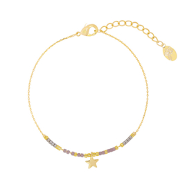 Armbandje Your Star - Goud/Paars