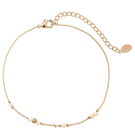 Enkelbandje Tiny Beads - Goud/Roze