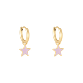 Oorbellen Pastel Star - Paars