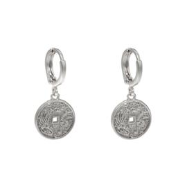 Oorbellen oriental coin  - Zilver