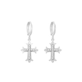 Oorbellen heilig kruisje- Zilver