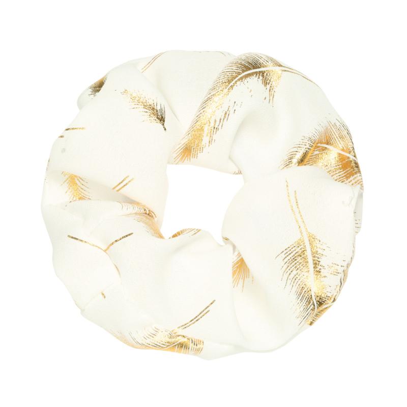 Scrunchie Golden Feather - Wit