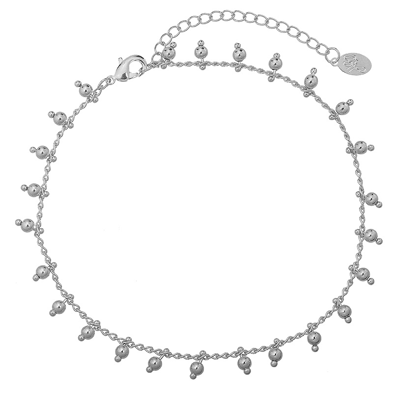 Enkelbandje Tiny Beads Party - Zilver