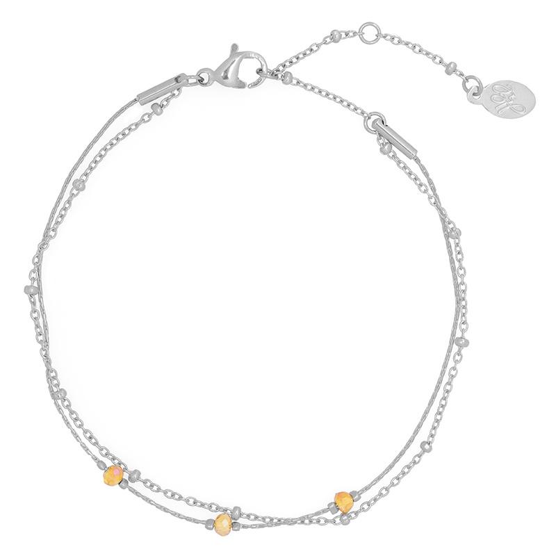 Armbandje Double Beads Line - Zilver