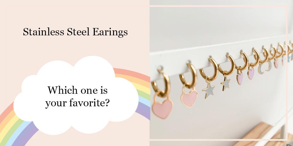Stainless steel oorbellen pastel