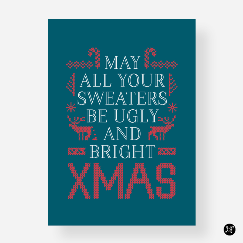 Kerstkaart - May all your sweaters be ugly and bright