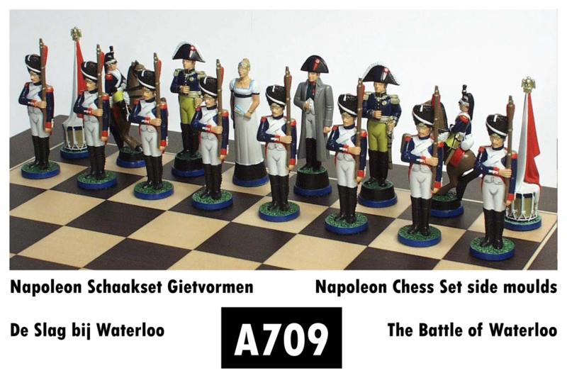 Gietmallen Schaakset Slag bij Waterloo Frankrijk (32 mm stukken)