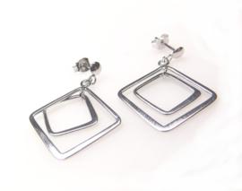 Oorhanger zilver met 2 vierkantjes