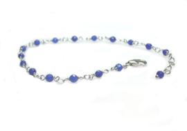 zilveren armbandje met blauwe agaat