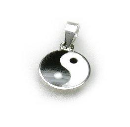 zilveren yin en yang teken klein zwart wit