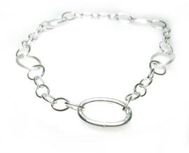 Zilveren collier grote ovalen schakels