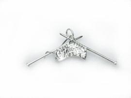 zilveren breiwerk hanger